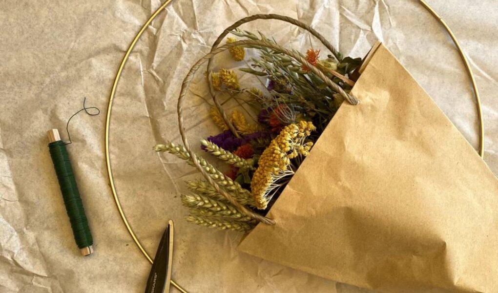 Boho-Kranz aus Trockenblumen - Material und Werkzeug